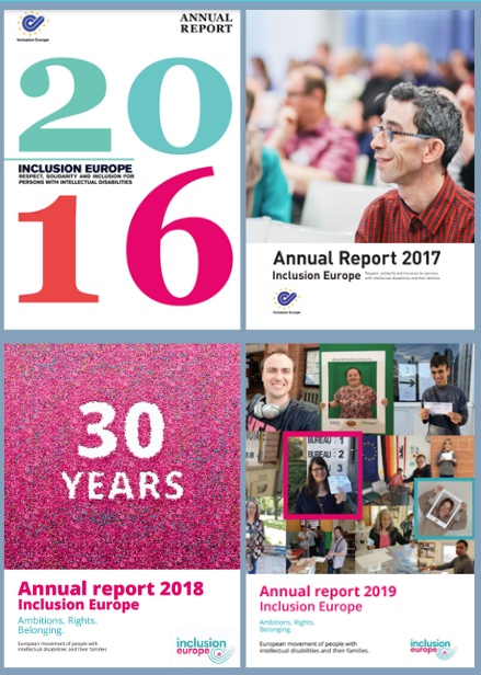 Inclusion Europe annual reports covers