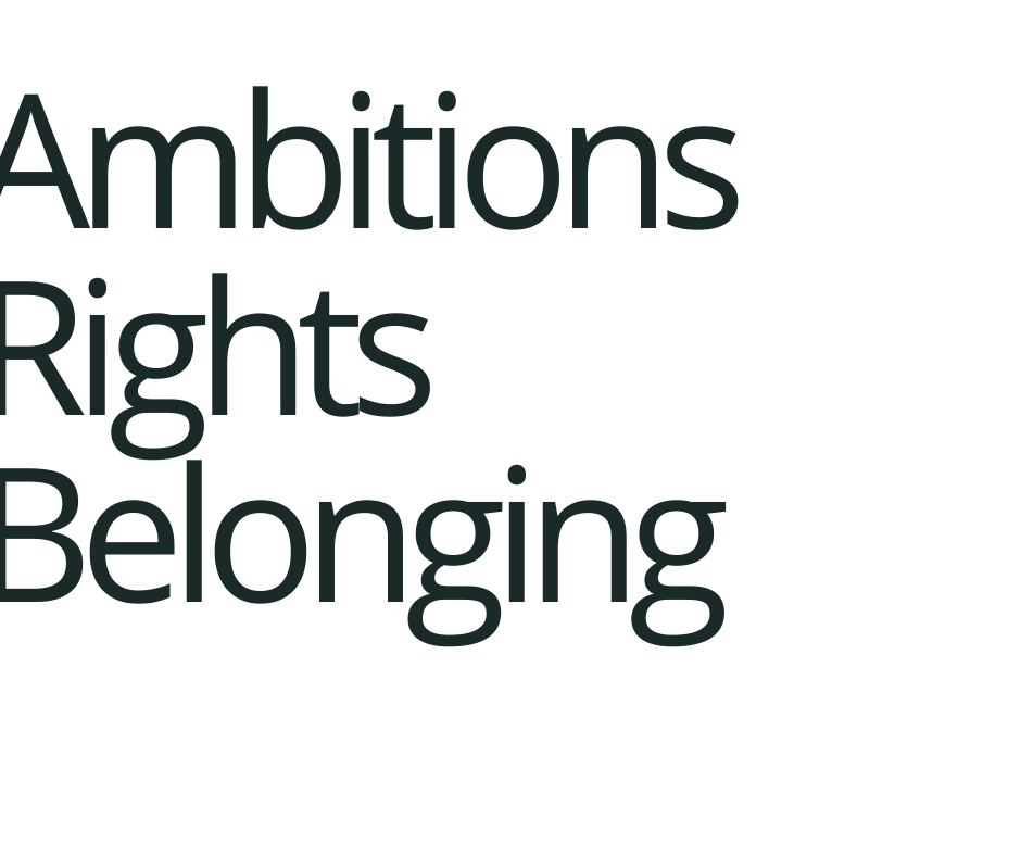Ambitions. Rights. Belonging