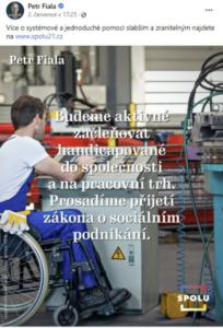 """Petr Fiala píše """"zdravotně postiženým"""""""